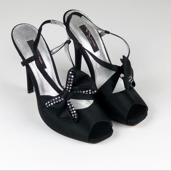 "44d3a4fabb8 {Nina} Satin Bow Formal Heels• Size 9• Black• 5"""